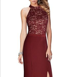 Halter maxi dress with lace embellishment